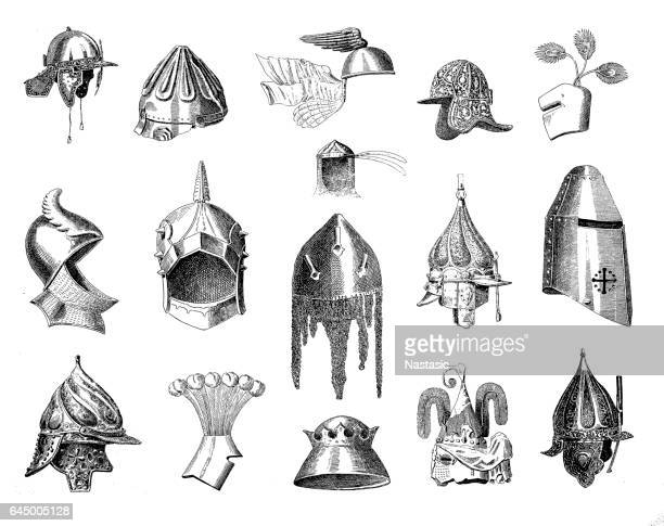 Historic war helmets