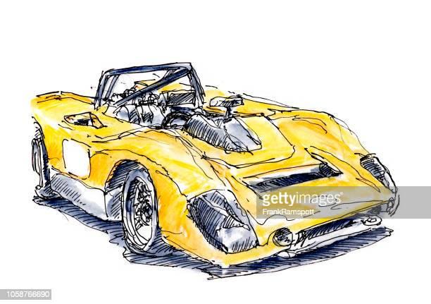 Historischen gelben CanAm-Rennwagen Tinte, Zeichnung und Aquarell