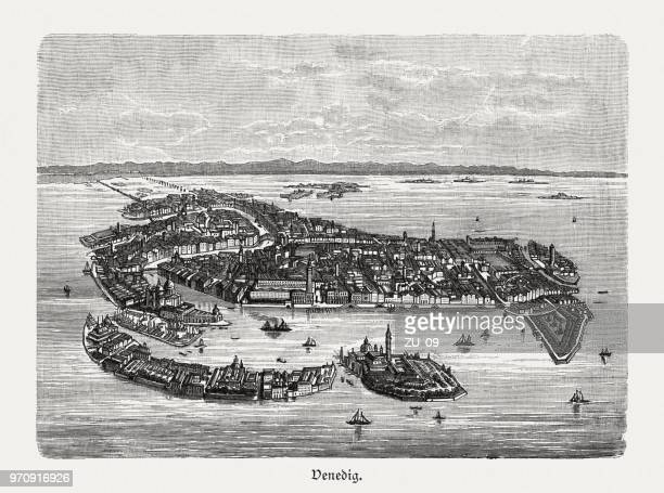 historical aerial view of venice, italy, wood engraving, published 1897 - venice italy stock illustrations, clip art, cartoons, & icons
