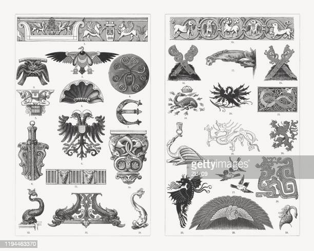 historical animal ornaments, wood engravings, published in 1897 - capital architectural feature stock illustrations