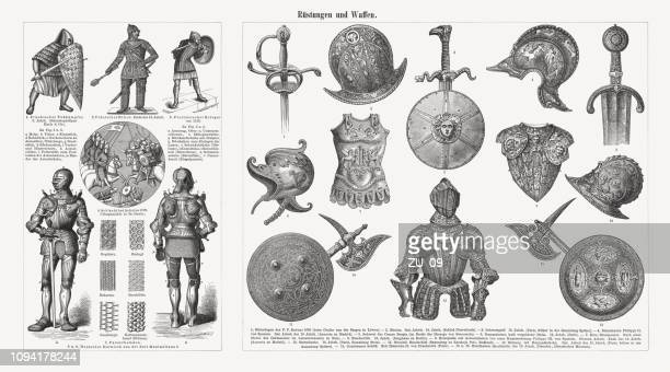 historical armor and weapons, antiquity-16th century, wood engravings, published 1897 - renaissance stock illustrations
