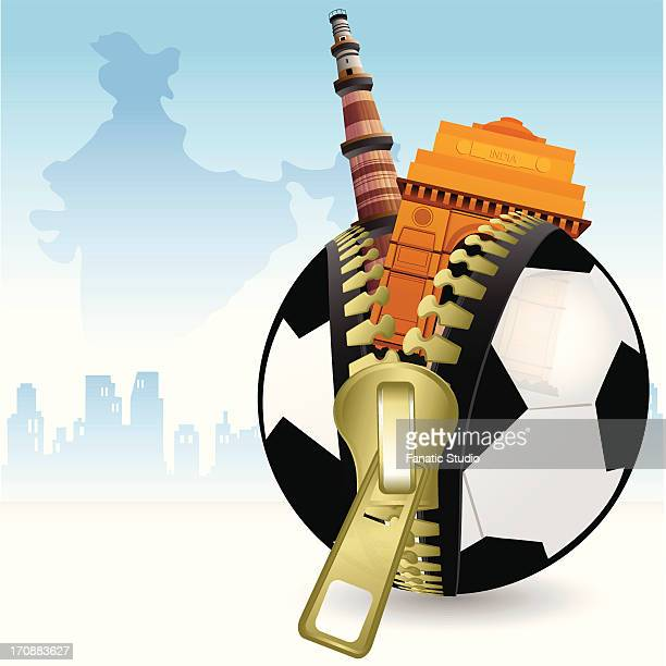 Historical buildings of India coming out from the zipper of a soccer ball