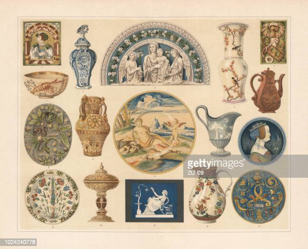 historical ceramics, chromolithograph, published in 1897 - relief carving stock illustrations
