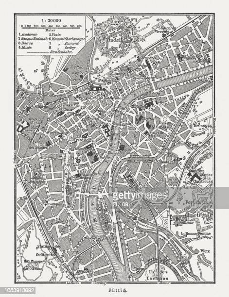 historical city map of liège (german: lüttich), belgium, published 1897 - liege stock illustrations