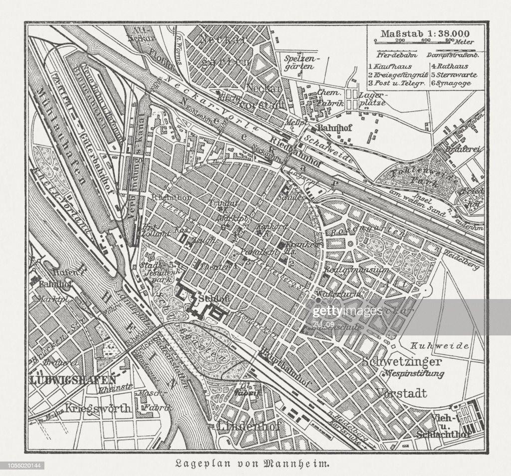 Historical City Map Of Mannheim Badenwürttemberg Germany