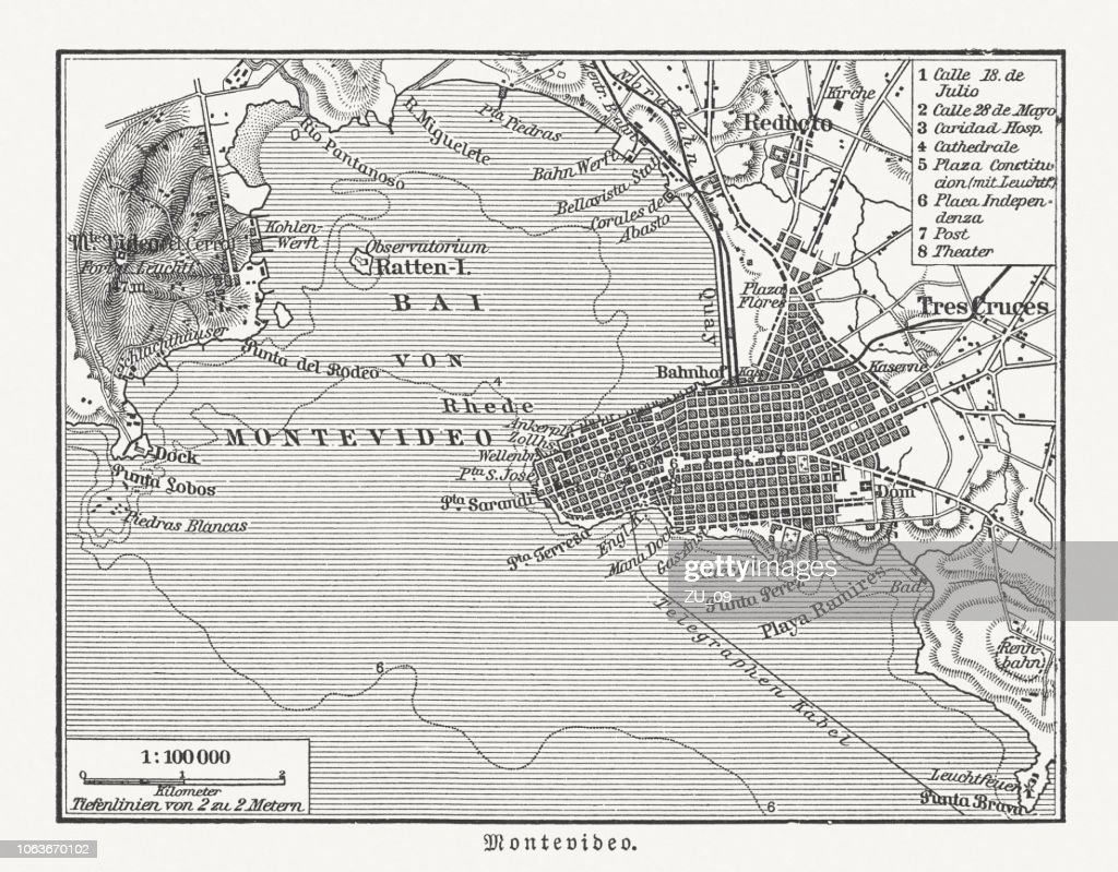 Image of: Historical City Map Of Montevideo Uruguay Wood Engraving Published 1897 High Res Vector Graphic Getty Images