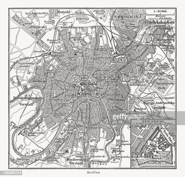 Historical city map of Moscow, Russia, wood engraving, published 1897