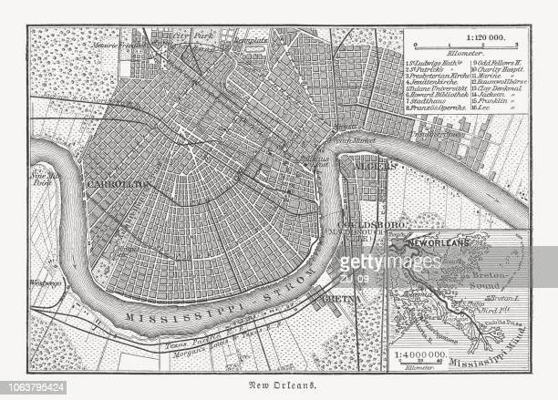 historical city map of new orleans, louisiana, usa, published 1897 - new orleans stock illustrations, clip art, cartoons, & icons