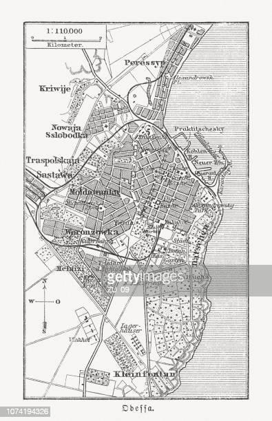 historical city map of odessa, ukraine, wood engraving, published 1897 - ukraine stock illustrations