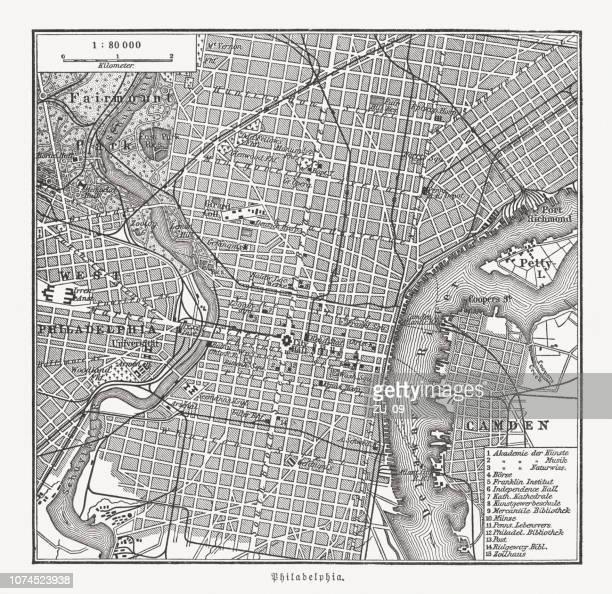 historical city map of philadelphia, pennsylvania, usa, wood engraving, published in 1897 - philadelphia stock illustrations