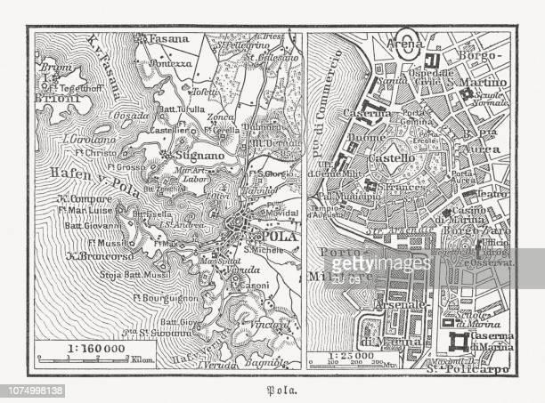 プーラ、クロアチア、イストリア半島郡、木版画の歴史的な街マップ公開 1897 - イストリア半島 プーラ点のイラスト素材/クリップアート素材/マンガ素材/アイコン素材
