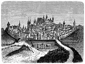 illustration historical cityscape nuremberg 16th century