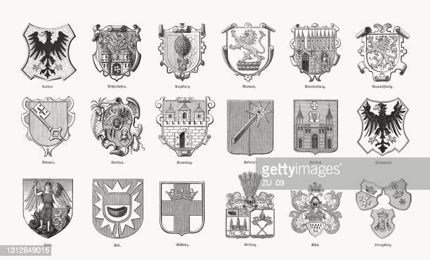historical coats of arms of german cities, woodcuts, 1893 - poland stock illustrations
