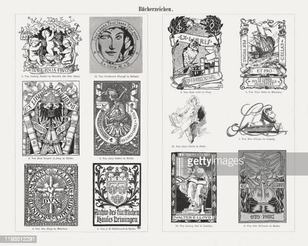 historical european bookplates (exlibris), wood engravings, published in 1900 - german culture stock illustrations