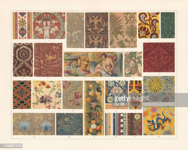 historical fabrics (antiquity to the 19th century), chromolithograph, published 1897 - byzantine stock illustrations