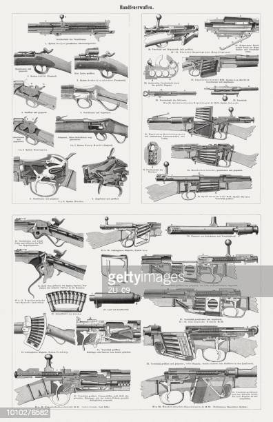historical ignition systems for handguns, wood engravings, published in 1897 - weaponry stock illustrations