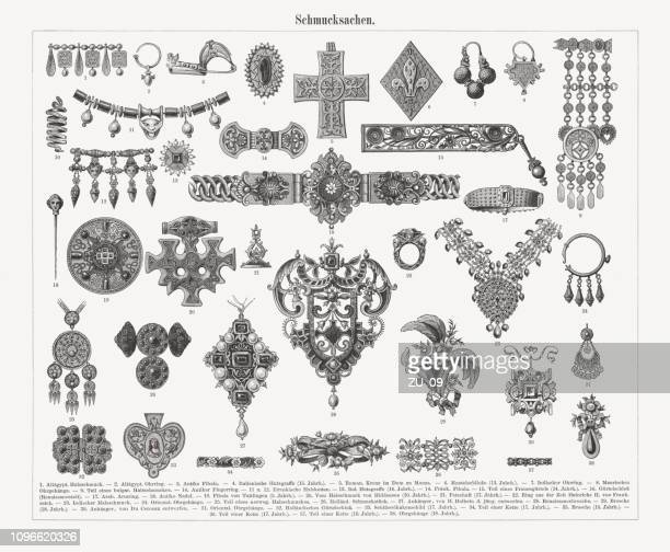historical jewelry, wood engravings, published in 1897 - carving craft product stock illustrations