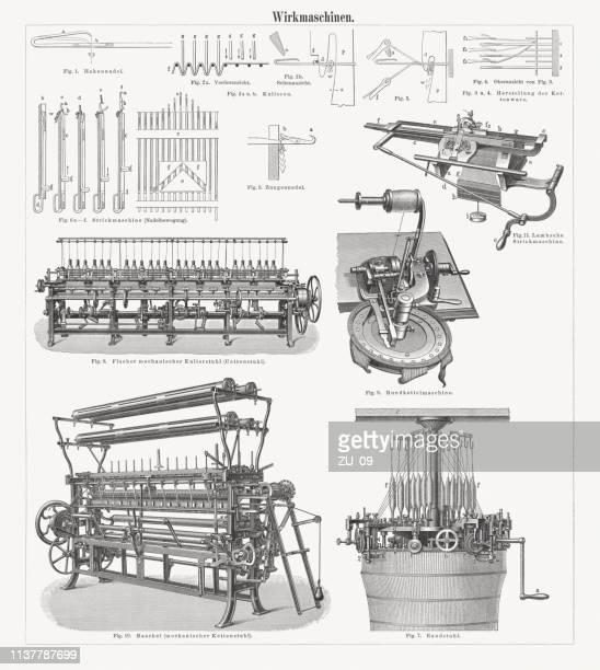 Máquinas de tejer históricas, grabados en madera, publicadas en 1897