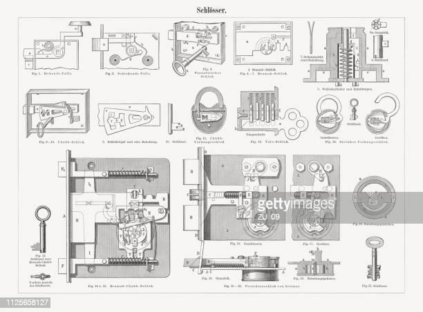 stockillustraties, clipart, cartoons en iconen met historische sluizen, houtsnijwerk, gepubliceerd in 1897 - locksmith