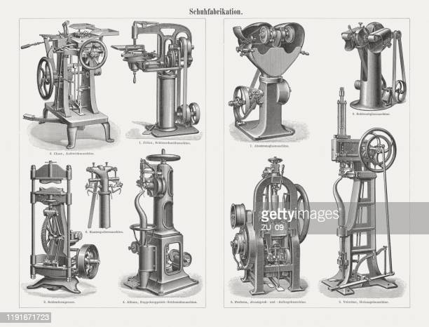 historical machines for shoe production, wood engravings, published in 1899 - shoe factory stock illustrations