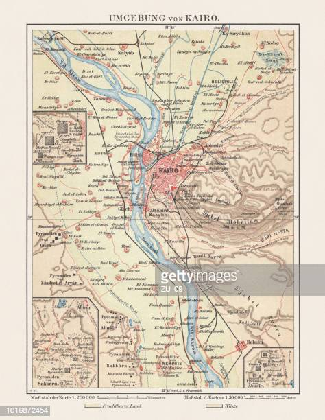 historical map of cairo and surroundings, egypt, lithograph, published 1897 - nile river stock illustrations, clip art, cartoons, & icons