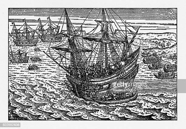 Historical Map of Dutch Navigators Battle in Portugal Illustration