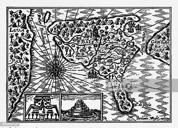 historical map of dutch navigators island of bali illustration - bali stock illustrations