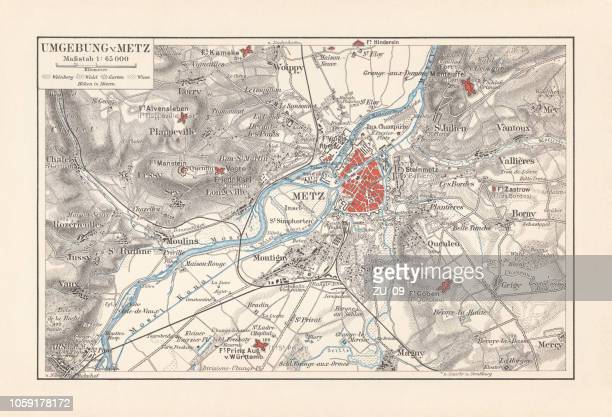 historical map of metz and surrounding, france, lithograph, published 1897 - moselle stock illustrations
