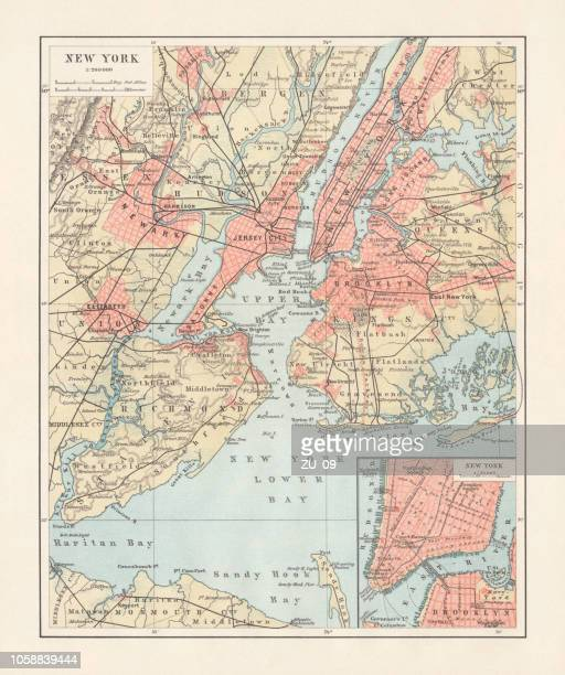 historical map of new york city, usa, lithograph, published 1897 - brooklyn new york stock illustrations