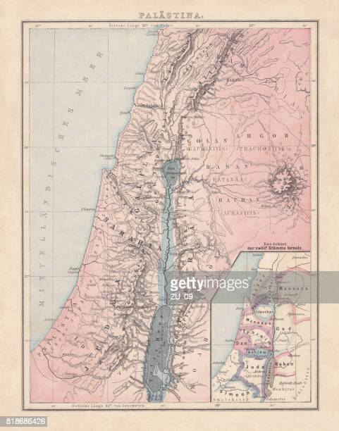 Historical map of Palestine with the twelve tribes of Israel