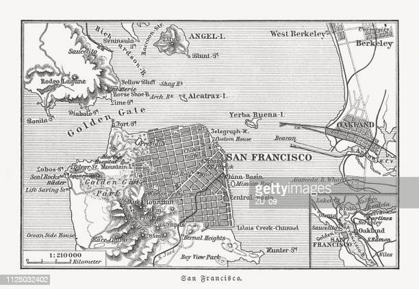 historical map of san francisco and surroundings, woodcut, published 1897 - oakland california stock illustrations