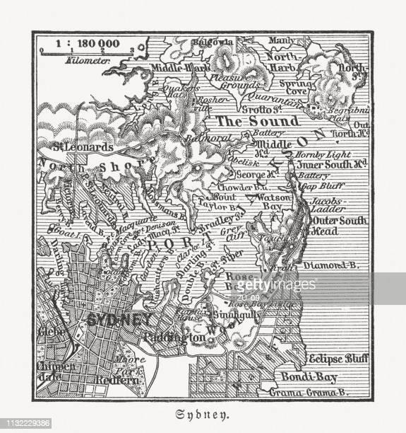 Historical map of Sydney, Australia, and surroundings, woodcut, published 1897