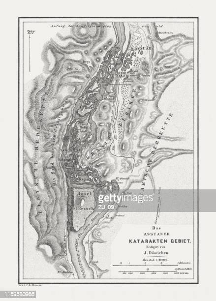 historical map of the nile cataracts near aswan, egypt, 1879 - nile river stock illustrations, clip art, cartoons, & icons
