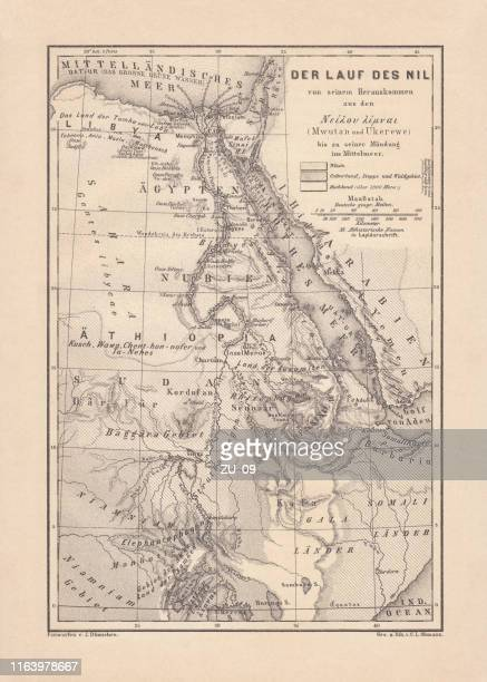 historical map of the nile river, wood engraving, published 1879 - nubia stock illustrations, clip art, cartoons, & icons