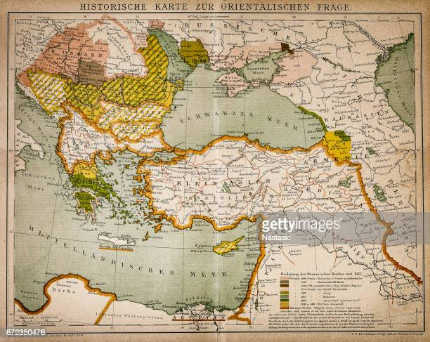 historical map of the oriental part of world - ottoman empire stock illustrations