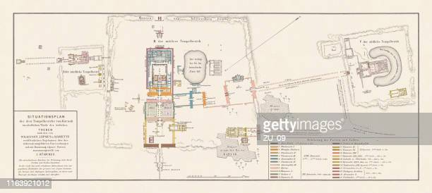 historical map of the temples of karnak, thebes, egypt, lithograph, 1879 - thebes egypt stock illustrations