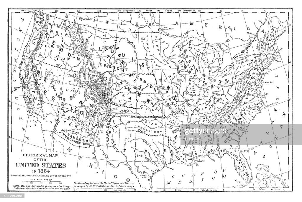 Historical Map Of The United States In 1854 stock ...