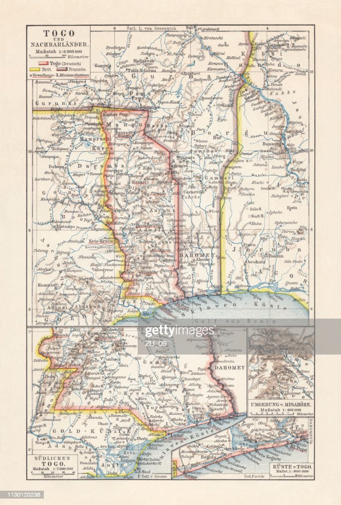 Historical map of Togo during the German colonial period (1884-1916) : stock illustration