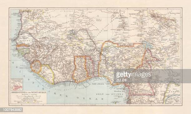 historical map of upper-, lower-guinea and west-sudan, lithograph, published 1897 - senegal stock illustrations, clip art, cartoons, & icons
