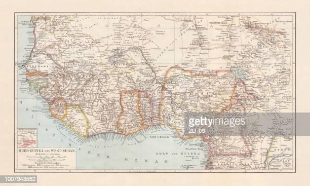 ilustrações, clipart, desenhos animados e ícones de mapa histórico de superior, inferior-guiné e oeste-sudão, litografia, publicado 1897 - libéria