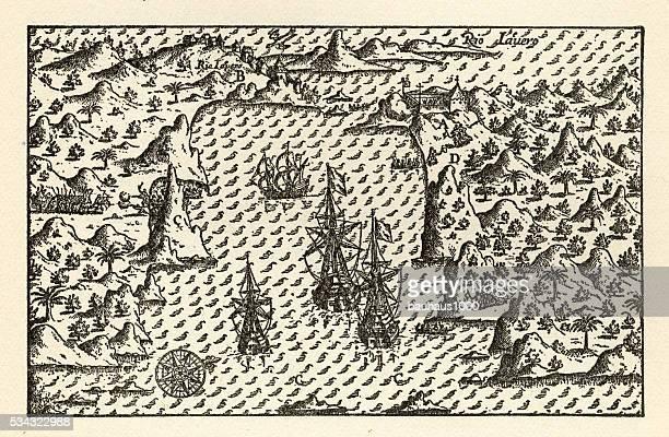Historical Map of Van Noort at Rio de Janeiro, 1598