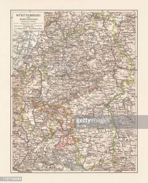 historische karte von württemberg und hohenzollern, lithographie, erschienen 1897 - bodensee karte stock-grafiken, -clipart, -cartoons und -symbole