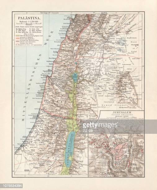 ilustrações, clipart, desenhos animados e ícones de mapas históricos da palestina e jerusalém, litografia, publicado em 1897 - níger