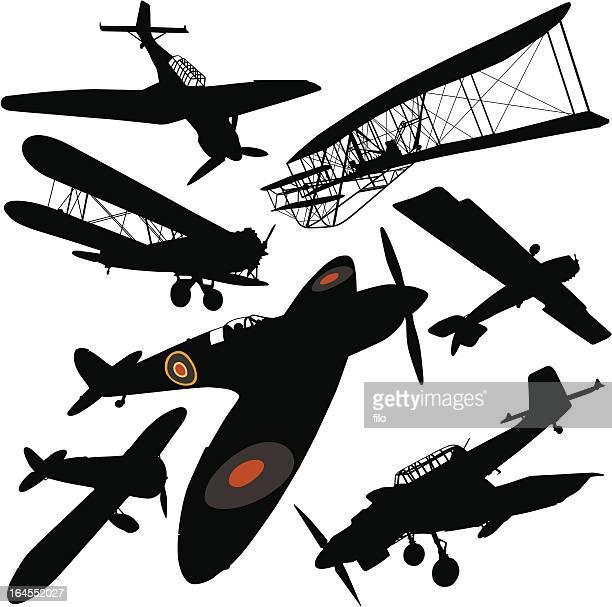 ilustrações de stock, clip art, desenhos animados e ícones de histórico avião colecção - segunda guerra mundial