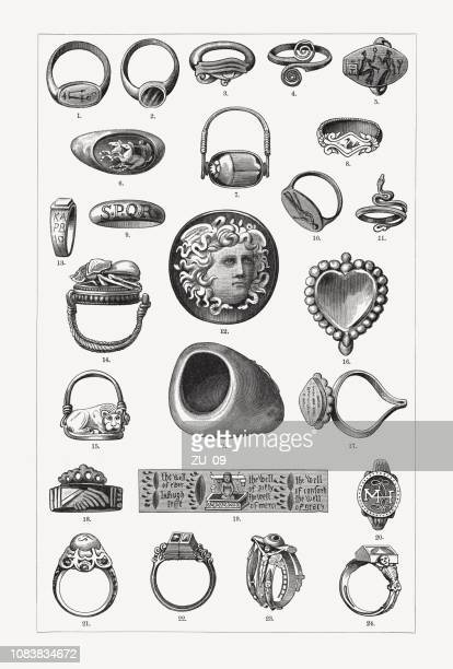 historical rings, wood engravings, published in 1897 - mycenae stock illustrations