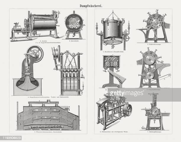 historische dampfwäschereien, holzstiche, erschienen 1900 - maschinenteil hergestellter gegenstand stock-grafiken, -clipart, -cartoons und -symbole