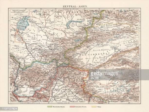 ilustrações, clipart, desenhos animados e ícones de mapa topográfico histórico da ásia central, litografia, publicada em 1897 - punjabe