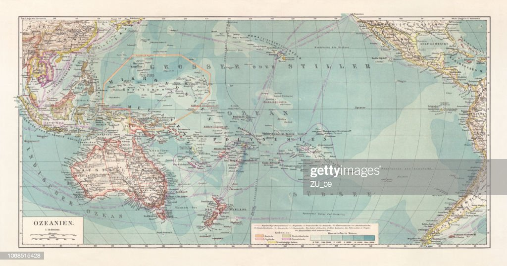 Historical topographic map of Oceania, lithograph, published in 1897 : stock illustration