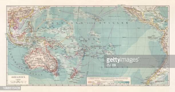 オセアニア、リトグラフ、1897 年に公開の歴史的地形地図