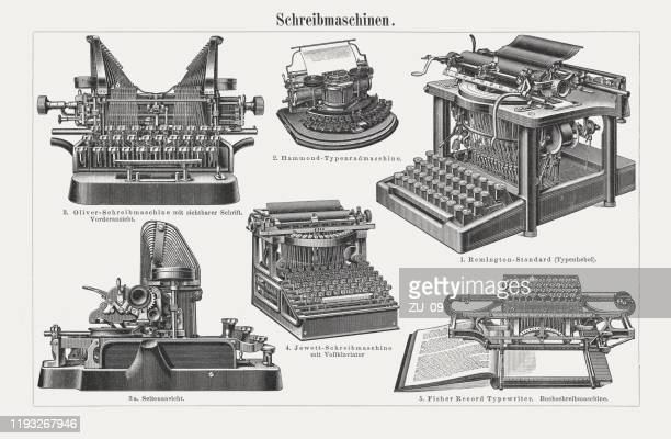 ilustrações de stock, clip art, desenhos animados e ícones de historical typewriters, wood engravings, published in 1900 - arcaico